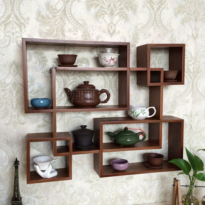 Solid Wood Small Bo Ancient Chinese Dabao Pavilion Teapot Tea Cup Display Stand Tea Pet Antiques Can Be Wall-mounted Lattice wall shelf for tea pots