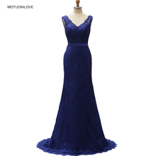 Robe De Soiree New Sexy V-neck Sleeveless Mermaid Royal Blue Lace Long Evening Dresses Elegant Party Prom Gown Vestido Festa