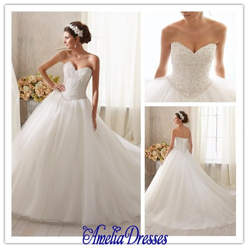 AW 031 Princess ball gown sweetheart neckline crystal beaded corset ...