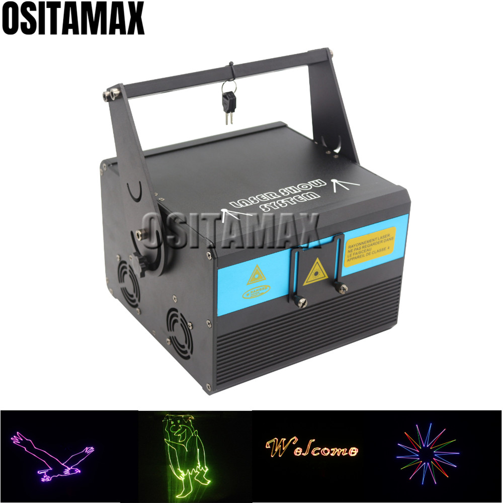Free Shipping Animation Laser Light 1000mw 1w Stage Lighting Effect RGB SD Card Laser Projector Perfect Effect DJ Laser Light