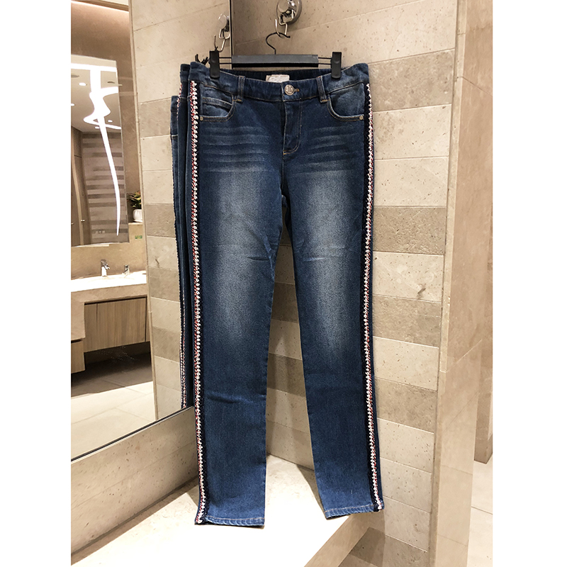 Spring summer 2019 women's high quality washed jeans ladies low waist retro slim