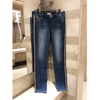 Spring summer 2019 women's high quality washed jeans ladies low waist retro slim straight pants Weaving decoration Long pants