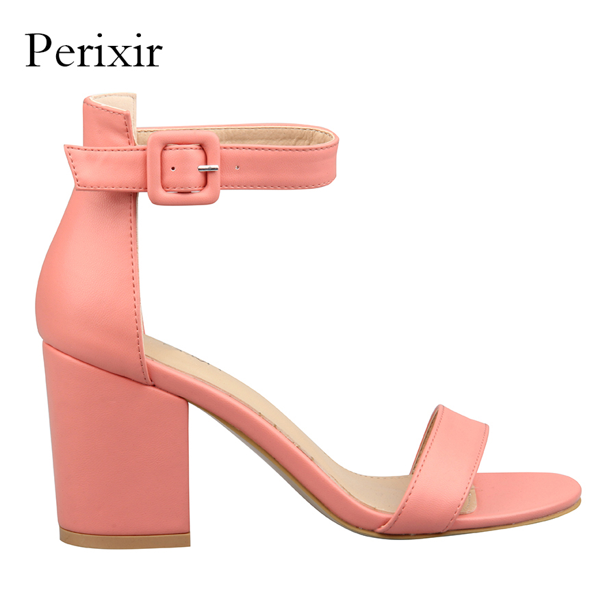 Perixir Summer Sandals Women Shoes Ankle Strap Square Heel Extreme High Heels Ladies Sandals Sandalia Feminina Chaussures Femme miquinha summer fashion casual shoes women sandalia feminina open round toe buckle strap square heel shoes sexy ladies sandals