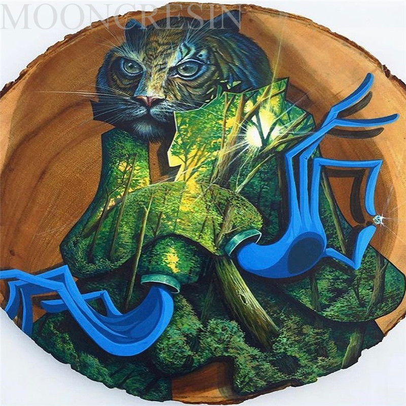5D Diy Diamond Painting Cross Stitch Cat Wearing Green Plants Diamond Embroidery Full Round Mosaic Decoration Resin Sticker Kits in Diamond Painting Cross Stitch from Home Garden