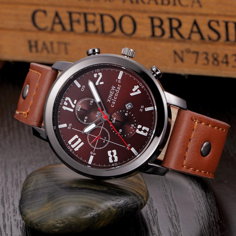 d74fb380701 Baratos por atacado de Relógios De Couro Dos Homens Data de Quartzo ...