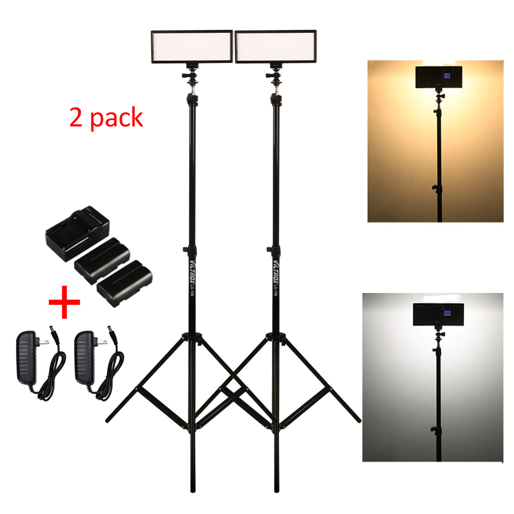 Photo Studio Set Kit-Viltrox L132T Bi-Color Dimmable LED Video Light/2M Light Stand/AC Adapter/Battery for DSLR Camera Photo image