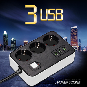 Image 3 - Network Filter Smart USB Power Strip Socket EU Plug 3 Socket 3USB Port 1.8M Extension  Socket Cord  Multi Plug Socket Adapter