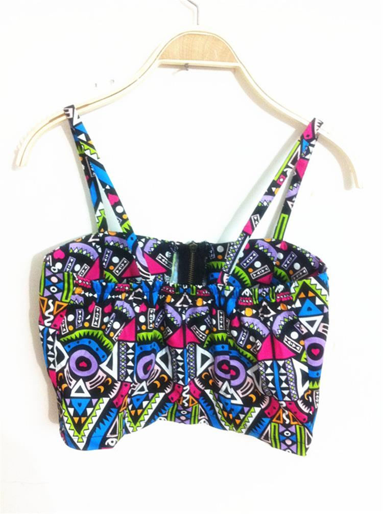 34dca8dc787 New Summer Ethnic Tribal Printed Strappy Bustier Crop Top Spaghetti Strap  Cropped Camisole Vintage Bralette tops (with pad)
