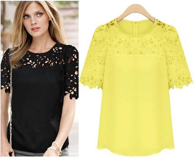 AQ62 Women Lace Blouses Sexy Plus Size Hollow Crochet Chiffon Blusas Feminina Short Sleeve Shirt Top Blouse S-5XL