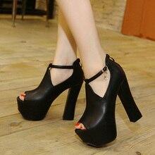 2017 Summer Europe Sexy Girl Black PU Leather Mesh Crystal Zipper Platform High Heels Women Sandals Peep Toe Woman Wedding Shoes
