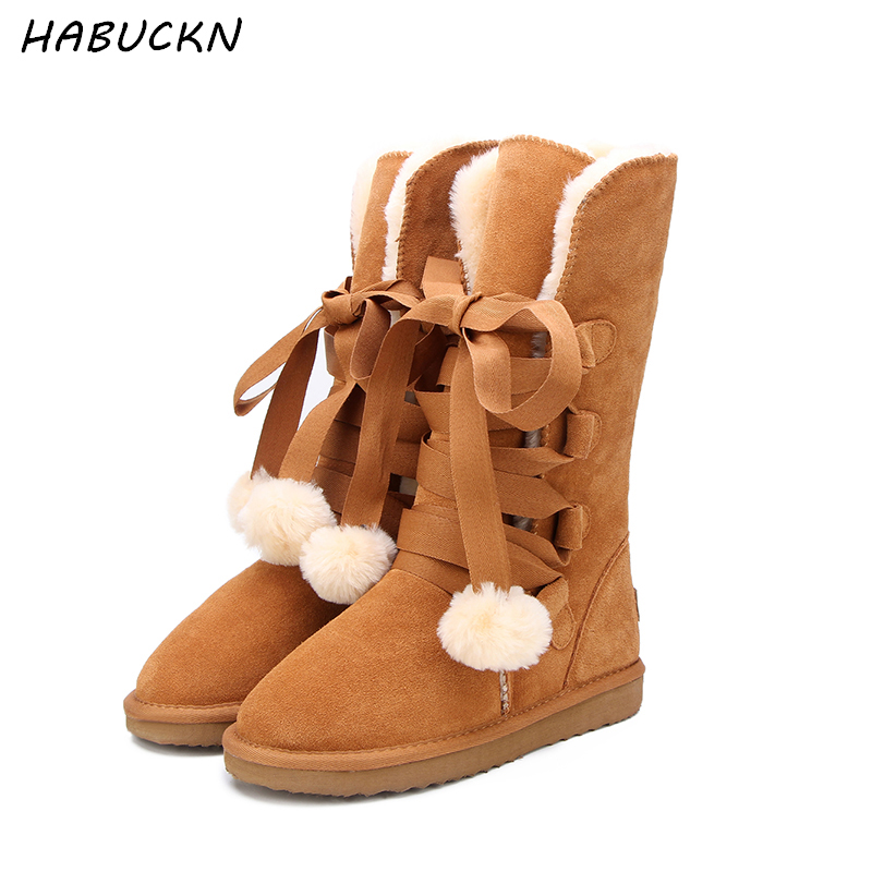 HABUCKN High Quality Snow Boots women's winter Boot Women Fashion Genuine Leather Australia Classic Women High Boot Winter