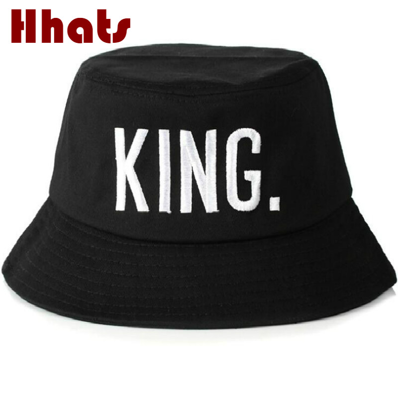 cc5c81a8c31 Which in shower couple KING bucket hat black men cotton flat embroidery  Queen fishing hat women summer sun hat bob beach panama