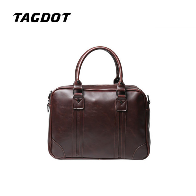 Tagdot brand Retro PU leather laptop bag Men 's Handbag Business Men' s Shoulder Messenger Bag Briefcase Computer Bag Men 's Bag купить в Москве 2019