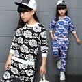 2016 Chicas casual y traje deportivo versión Coreana de fragantes flores de dos piezas para Niños niñas