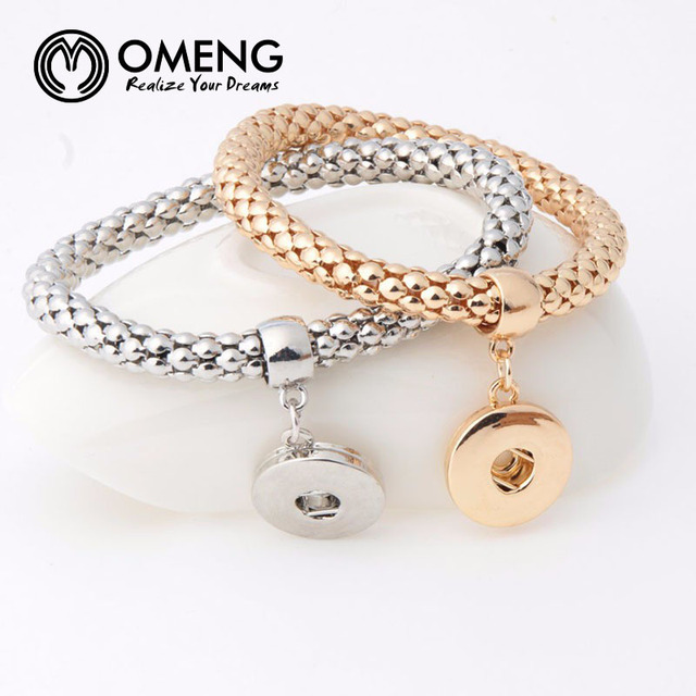 Omeng New Fashion Ginger Snap Bracelet Elastic Snake Chain Bangles Fit 18mm Ons Women