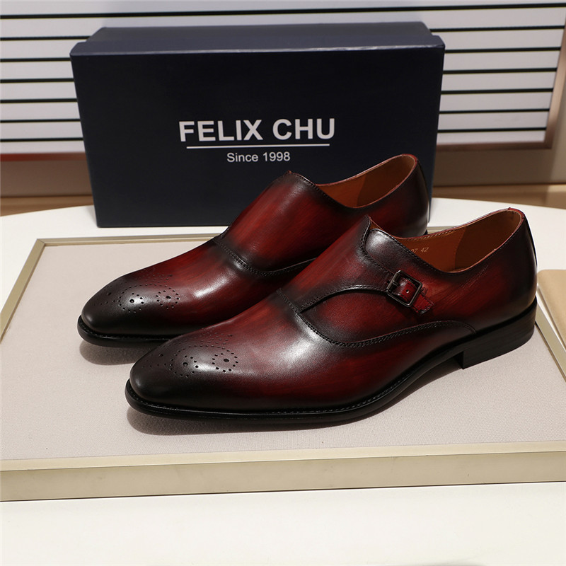 3 Colors European Style Gentleman Monk Strap Formal Shoes Pointed Toe Men Dress Loafers Shoes for