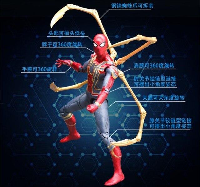 NEW hot 18 cm Vingadores Super herói homem de Ferro Aranha Spiderman action figure colecionador de brinquedos de presente de Natal com caixa