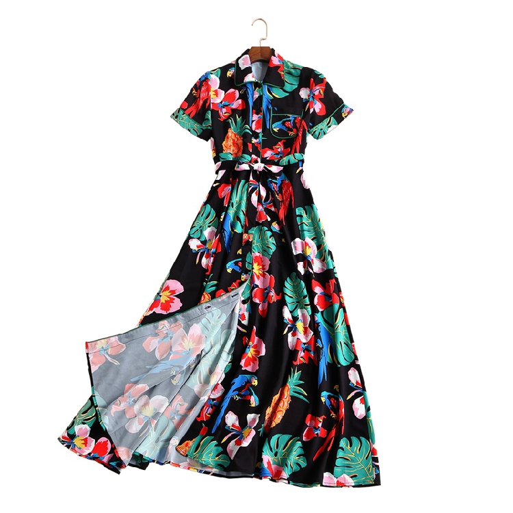 Tropical floral patterns print women elegant shirt dress sashes bow mid calf casual short sleeve dresses