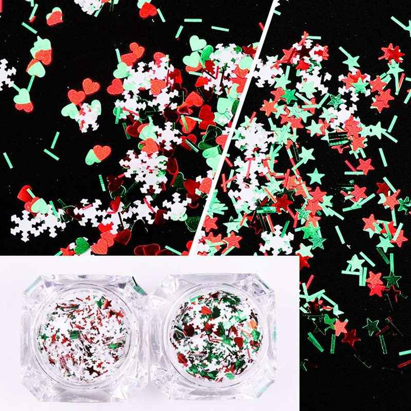 Uñas lentejuelas decoración navideña uñas de Navidad con copo de nieve blanco mezcla de colores escamas rojo verde estrella Corazón y rayas