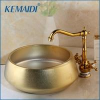 Kemaidi bacia pias/bacias do navio com lavatório de cerâmica pia & polido ouro torneira conjunto cerâmica lavatory