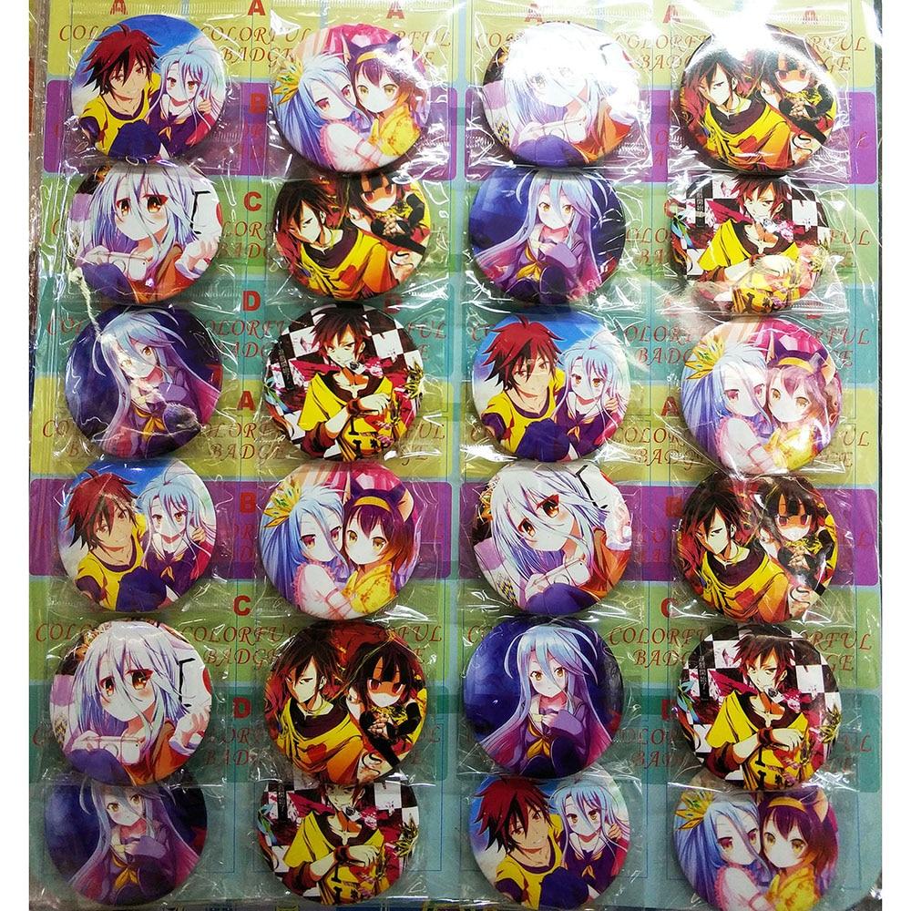 Любовь спасибо Нет игры-нет жизни 58 мм 12/24 шт много Pin Назад Знак Кнопка брошь подарок Игрушка Аниме партии игры