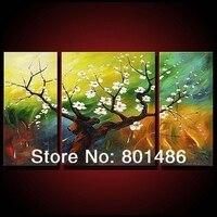 ציור שמן דקורטיבי בבית נחמד פרח plum פריחת יצירות אמנות ציור שמן נוף עץ על מכירה 3 פנלים לא ממוסגר