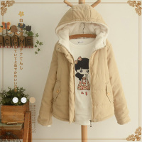 Harajuku Winter Mori Girl Sweet Coat Women Clothing Candy Color Casual Plus Velvet Female Hooded Soft Warm Coat Blends Z128