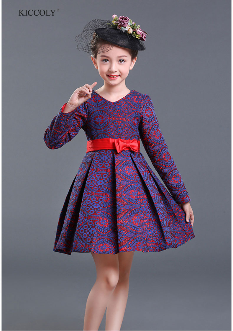 Girls Dress Winter Performance Clothing Children Printing Dress Kids Clothes For Princess Party Wedding Dress Baby TuTu Dress girls dress winter 2016 new children clothing girls long sleeved dress 2 piece knitted dress kids tutu dress for girls costumes