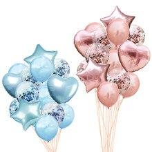 14Pcs 웨딩 생일 풍선 라운드 색종이 Ballon 하트 헬륨 풍선 생일 파티 장식 성인 키즈 이벤트 Baloes