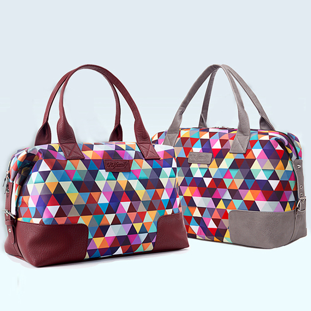 3014178423fb Roadfisher Diamond Color Women Men Waterproof Nylon Handbag Foldable Sport  Gym Training Bag Carry Weekend Short Travel Luggage