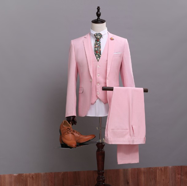 (Jacket+Pants+Vest) Custom Made High Quality Pink Groom Tuxedos Nice Suit for Bestmen Bridegroom/Wedding/Prom/Dinner Suits
