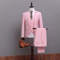(Jacket+Pants+Vest) Custom Made High Quality Pink Groom Tuxedos Nice Suit for Bestmen Bridegroom/Wedding/Prom/Dinner Suits