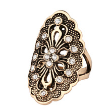New Personality Rhinestone Big Rings for Women Size 7 8 9 10 Silver Hyperbole Hollow Carved Finger Wedding Jewelry