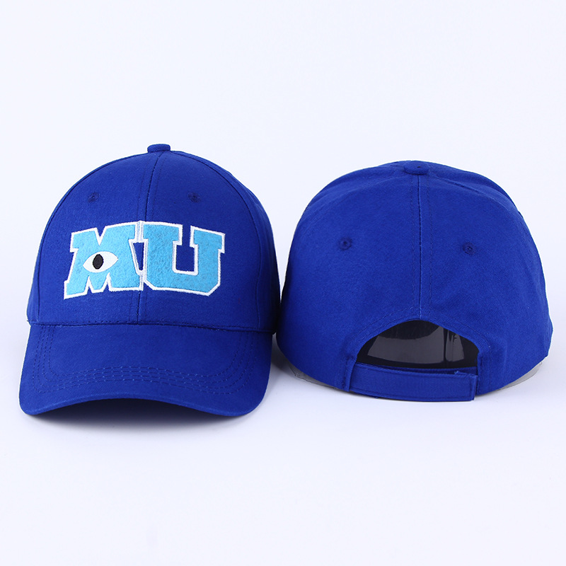 VORON 2017 New Brand Pixar Movie Monsters University Sulley Mike MU Letters Baseball Blue Hat Baseball Caps One Piece Vestidos