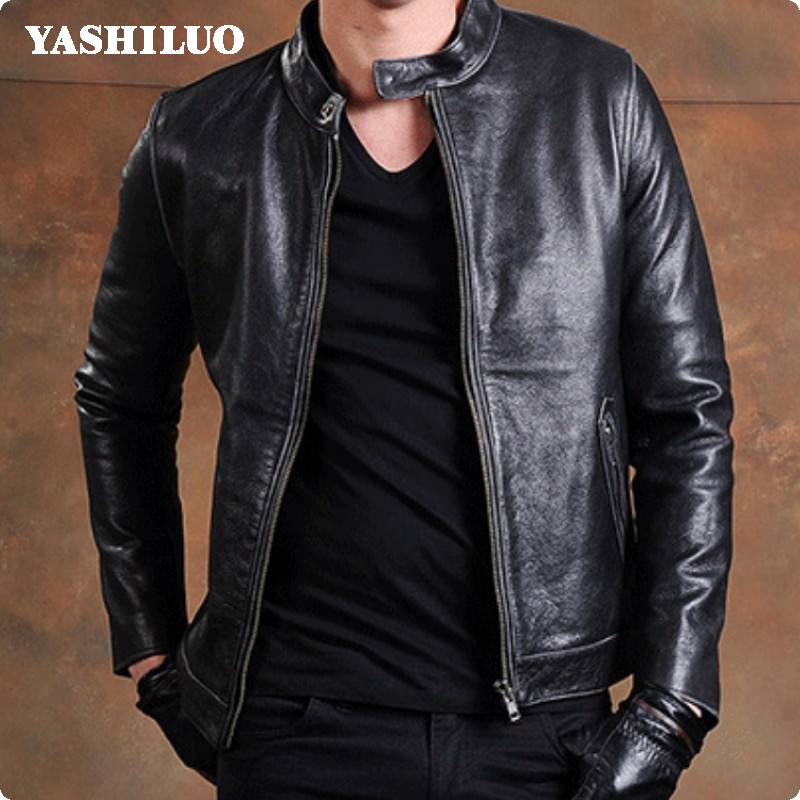 2018 Fashion Zipper 100% Real Leather Jacket Stand Collar Slim Fit Plus Size Male Coat Homens Jaqueta De Couro Blouson Moto