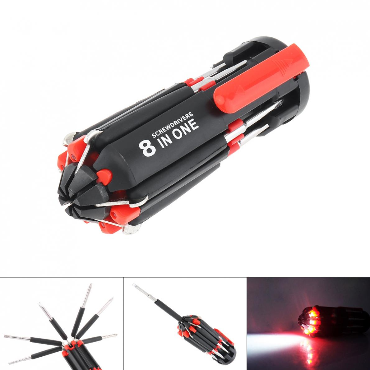 <font><b>8</b></font> <font><b>in</b></font> <font><b>1</b></font> Multi <font><b>Screwdriver</b></font> With 6 LED Torch Hand Repair Tools Up Multi Functional for Home Appliance Car image