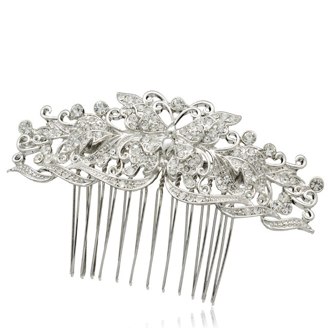 butterfly hair comb wedding hair accessories for women rhinestone crystal flower bride bridesmaid hair jewelry co1338r