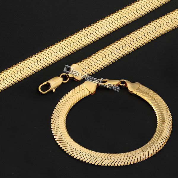 Davieslee 10MM Gold Filled MIRROR SNAKE Herringbone Boys Mens Chain