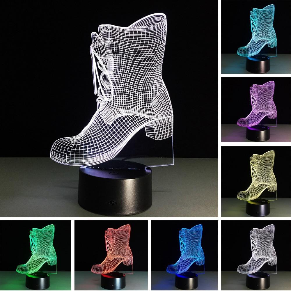 3d靴led寝室オフィスホームテーブルランプの装飾錯覚ムード7色変更夜