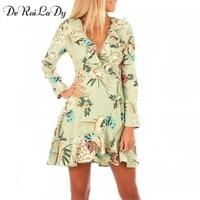 DeRuiLaDy Ruffle Floral Print Wrap Dress Women Sexy V Neck Mini Beach Dresses Long Sleeve Autumn