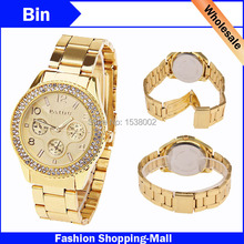 Hot 2015 Relogio Femininos Masculino Dourado De Marca Luxo Paidu Quartz Watch Women kors Crystal Steel Wristwatch Relojes Mujer