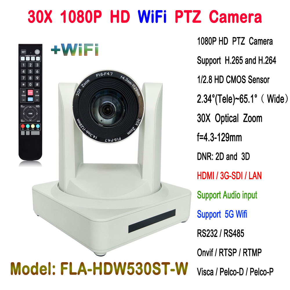 White 1080p 50/60fps 30x Optical zoom HD IP PTZ Video Conference Camera Wireless with hdmi 3g-sdi output image