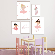 Ballet Girl Nursery Canvas Prints Babi Nordic Painting Poster Baby Room Decor Pink Dancer Wall Pictures For Bedroom