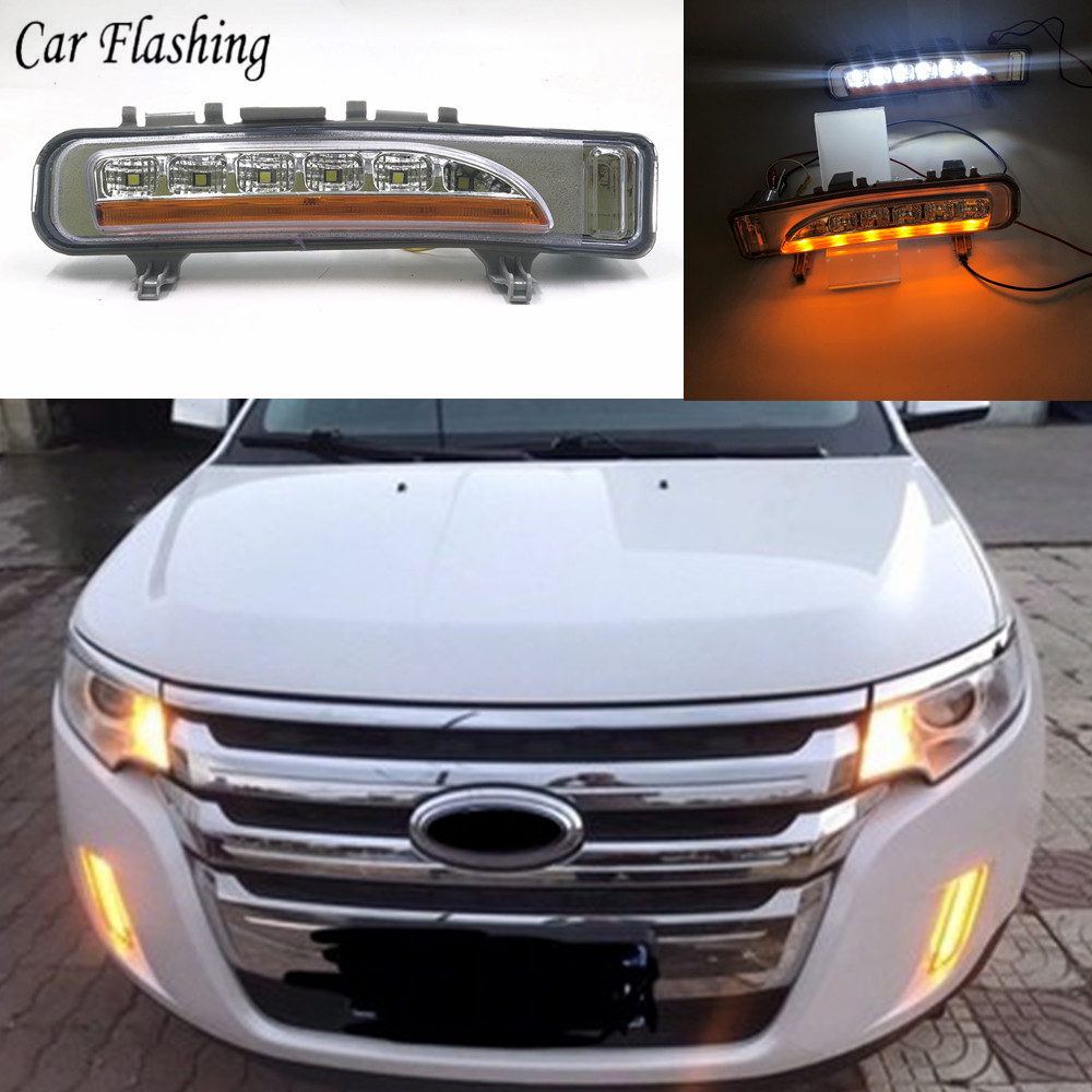 Car Flashing 1Pair For Ford Edge 2009 2010 2011 2012 2013 2014 DRL LED Daytime Running Light With Yellow Turning Function-in Car Light Assembly from Automobiles & Motorcycles    1