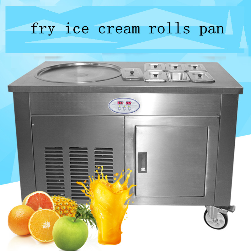 stainless steel one pan 2 compressors with 35L freezer itself fry ice cream pan,fried ice cream roll machine free shipping free air ship ce stainless steel fried ice cream machine single pan freezer ice pan machine with defrost for ice cream rolls