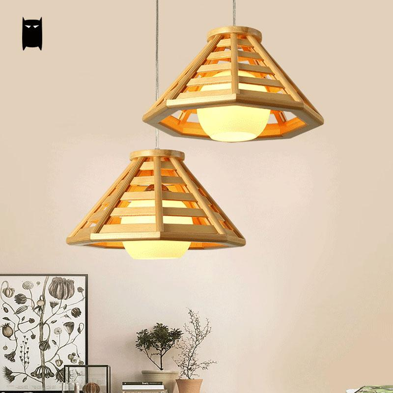 Oak Wood Shade Pendant Light Fixutre Rustic Nordic Korean Asian Japanese Style Tatami Hanging Lamp Indoor Home Dining Table Room new arrival chinese style lamps log wood pendant light japanese style tatami pendant light 053b free shipping
