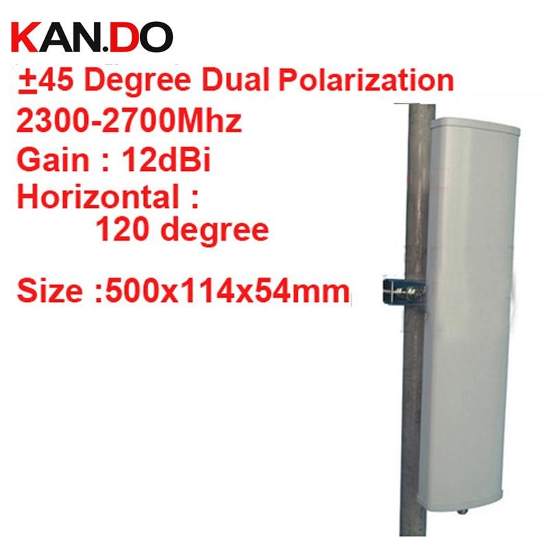12dbi double polarisation + 45 &-45 degrés 2300-2700 Mhz panneau antenne 2.4G wifi antenne Base station utiliser antenne FDD 4G antenne TDD