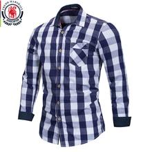 FREDD MARSHALL 2018 Neue Ankunft Herren Plaid Shirt 100% Baumwolle Langarm Casual Mode Sozialen Business Stil Kleid Shirts FM155