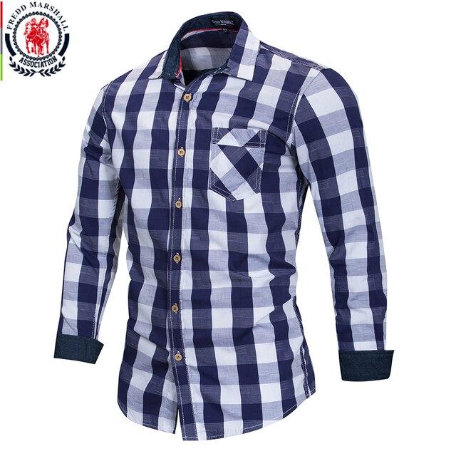 FREDD MARSHALL 2018 New Arrival Mens Plaid Shirt 100% Cotton Long Sleeve Casual Fashion Social Business Style Dress Shirts FM155