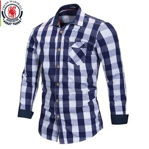 Image 1 - Freddマーシャル 2018 新到着メンズ格子縞のシャツ綿 100% 長袖カジュアルファッション社会ビジネススタイルのドレスシャツFM155